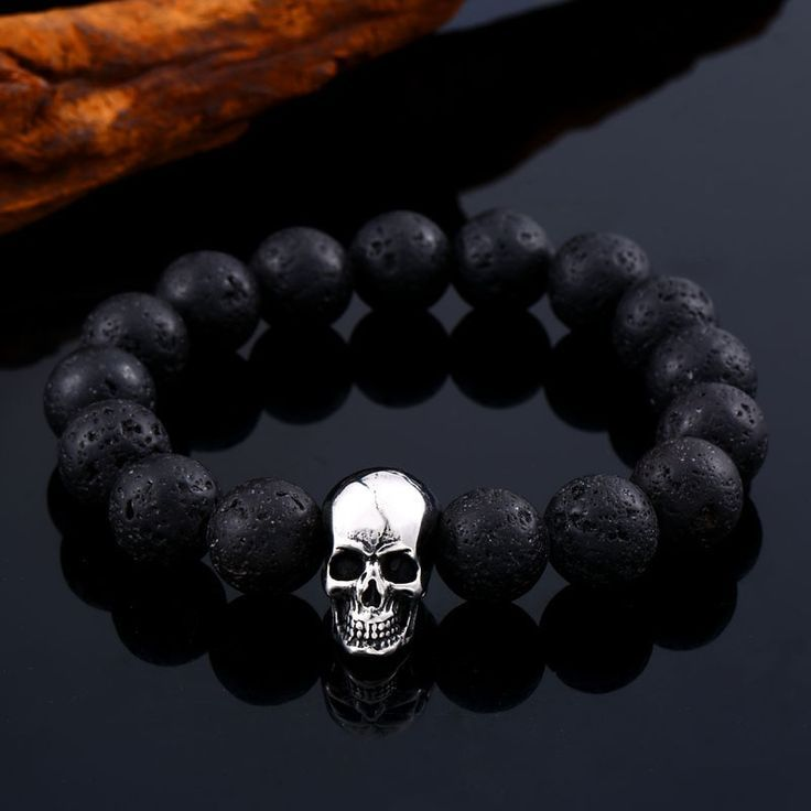 Pulseira Masculina Black Lava Stone men Jewelry natural stones skull Charm bracelet bangle Punk rock jewelry HSS005