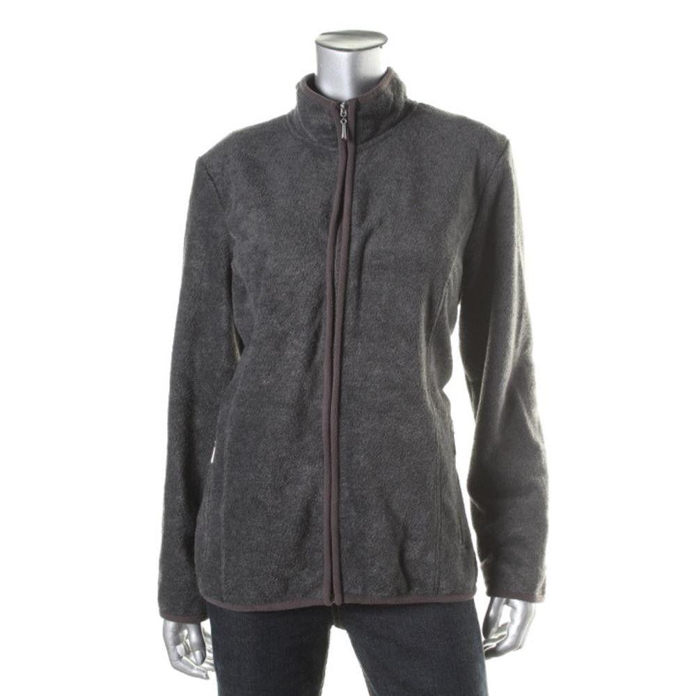 Karen Scott Womens Fleece Long Sleeves Jacket