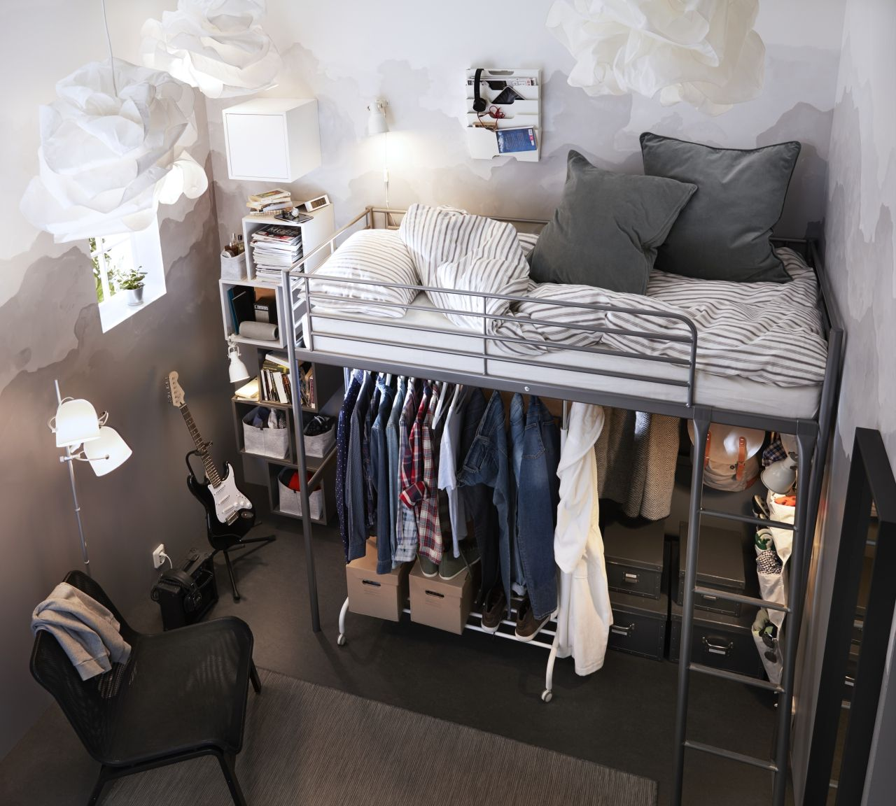 When You Only Have A Few Square Meters Build Upwards A Minimalistic Loft Bed Helps You Gain A Couple Small Room Design Ikea Loft Bed Apartment Bedroom Decor