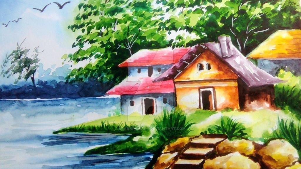 Scenery Watercolor Drawing Nature Art Pictures Www Picturesboss