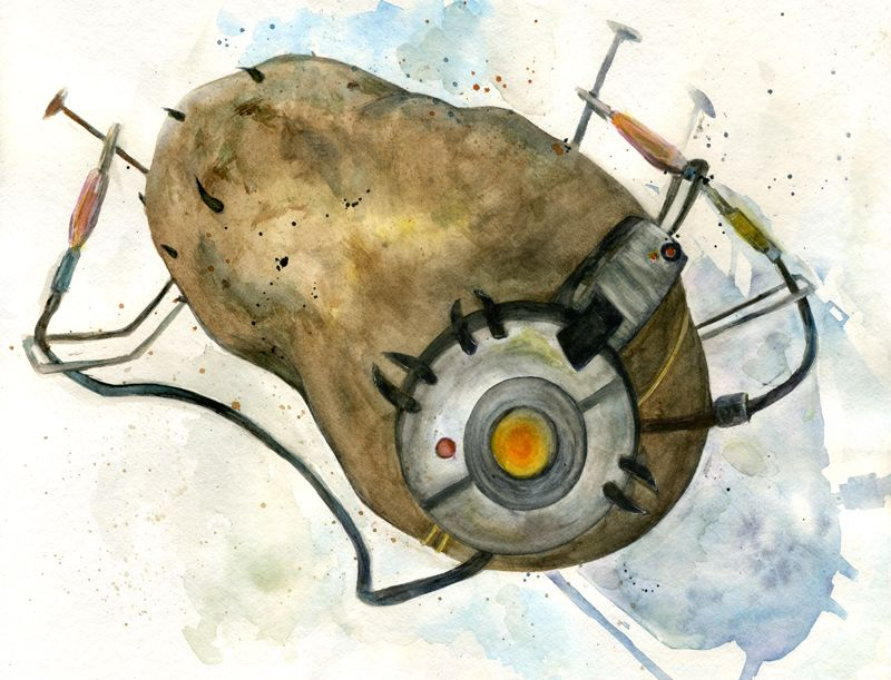 Painting Of Glados As A Potato Battery From Valve S Portal 2