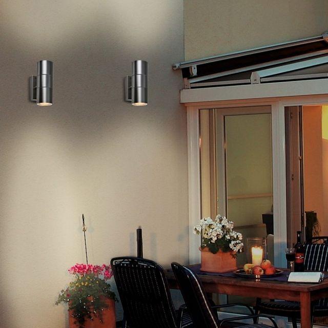 LED Wandleuchte ROM, Wandlampe, Außenleuchte, 2 Flammig, Edelstahl, Up Down