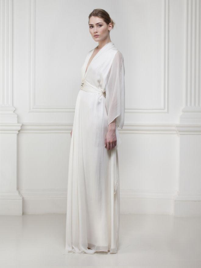 Silk Chiffon Kaftan Gown with Swarovski Embroidery - Dresses ...