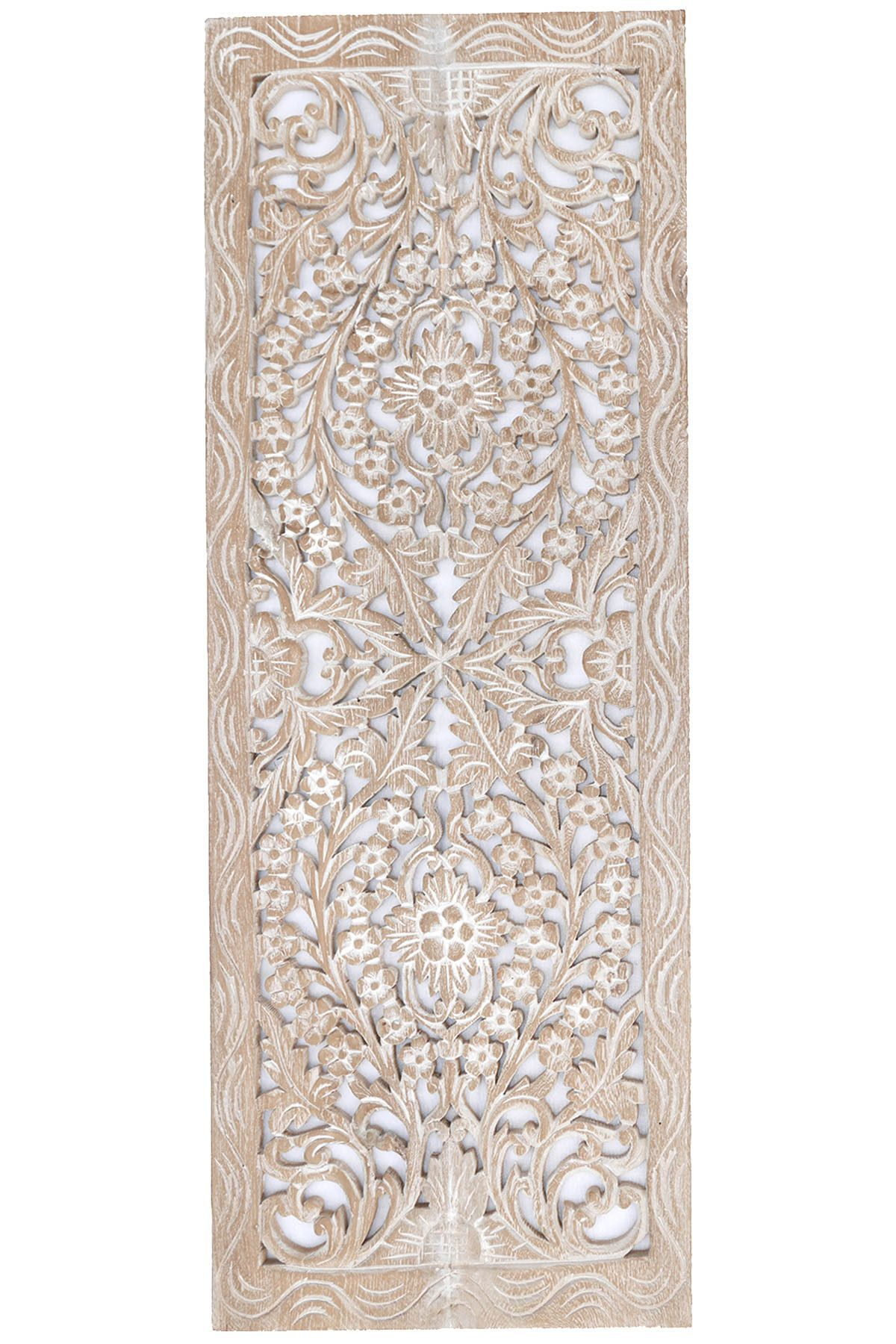 Floral Wood Carved Wall Panel Wall Hanging Asian Home Decor Decorative Thai Wall Relief Panel Sculpture Large Wood Wall Plaque 35 5 X13 5 X0 5 Color Option Carved Wood Wall Art Carved Wall Decor Wood