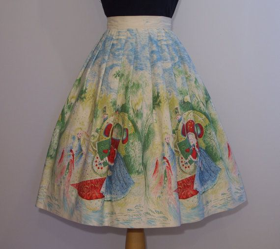 1950s Novelty Print Skirt CINDERELLA and by RainbowValleyVintage, £55.00