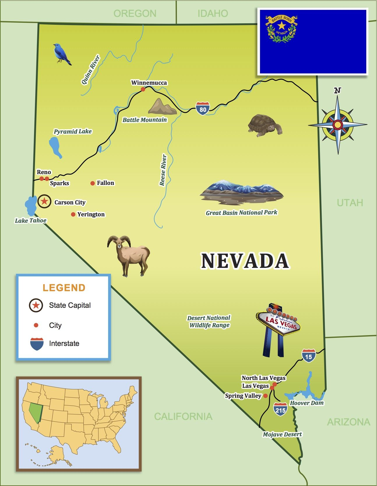 Use States Map.Use Our State Journal Map On Your Next Nevada Adventure Little