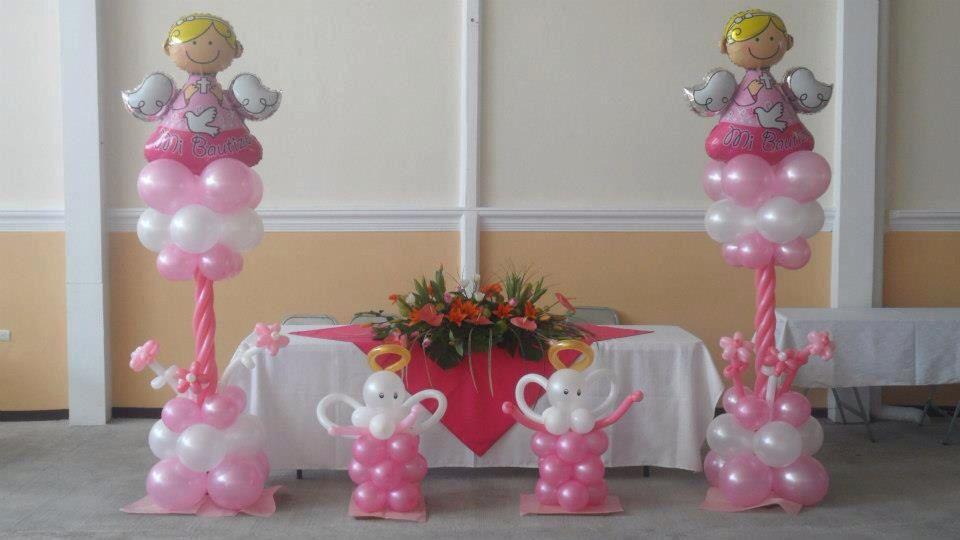 Decoraci n para bautizo angelitos arcos globos para for Decoracion para bautizo nina