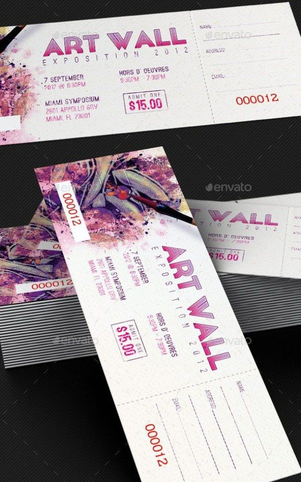 Art Expo Ticket and Event Pass Template Templates Ticket
