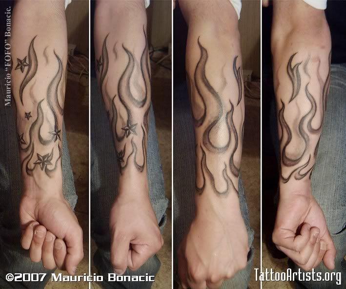 851807e847ed7 Nautical Star And Fire And Flame Tattoo: Sleeve Tattoo Tattoo Design to use  and take to your artist.