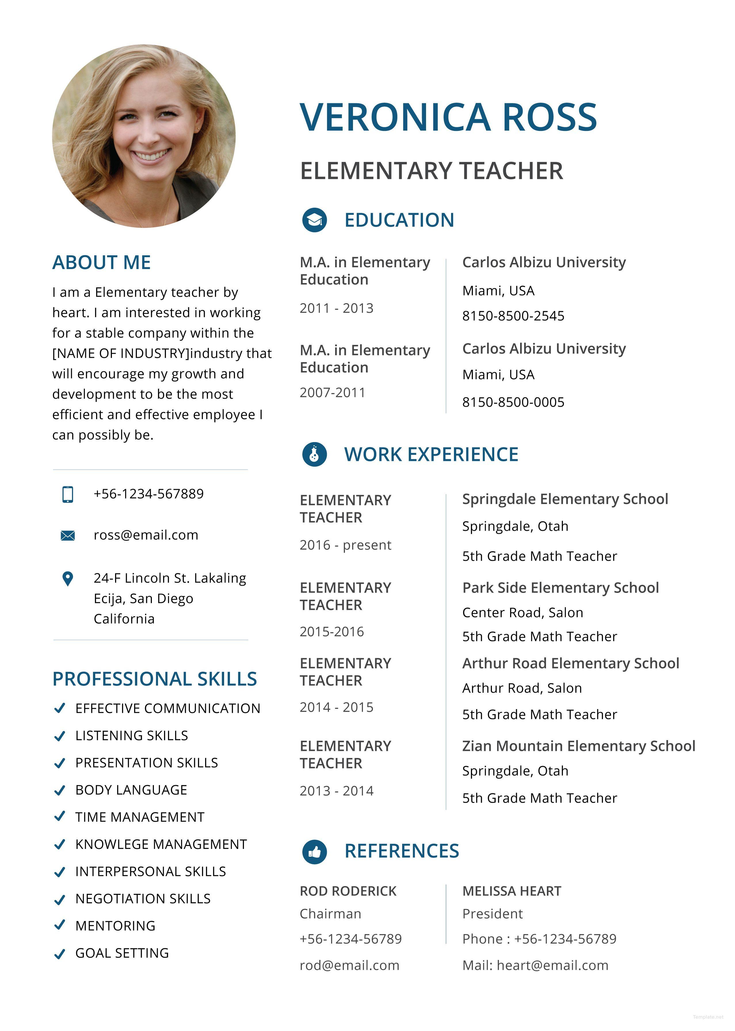 Free clean resume elementary teacher resume teacher