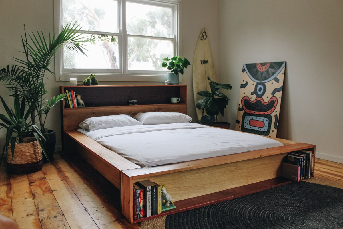 Platform Bookshelf Bed Made Out Of Recycled Timber Handmade By Al Imo Www Alandimohandmade Com Wood Bedroom Sets Master Bedrooms Decor Rustic Home Interiors