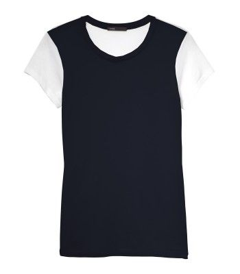 Vince Two-Tone Cap-Sleeve Tee Shirt - ShopBAZAAR