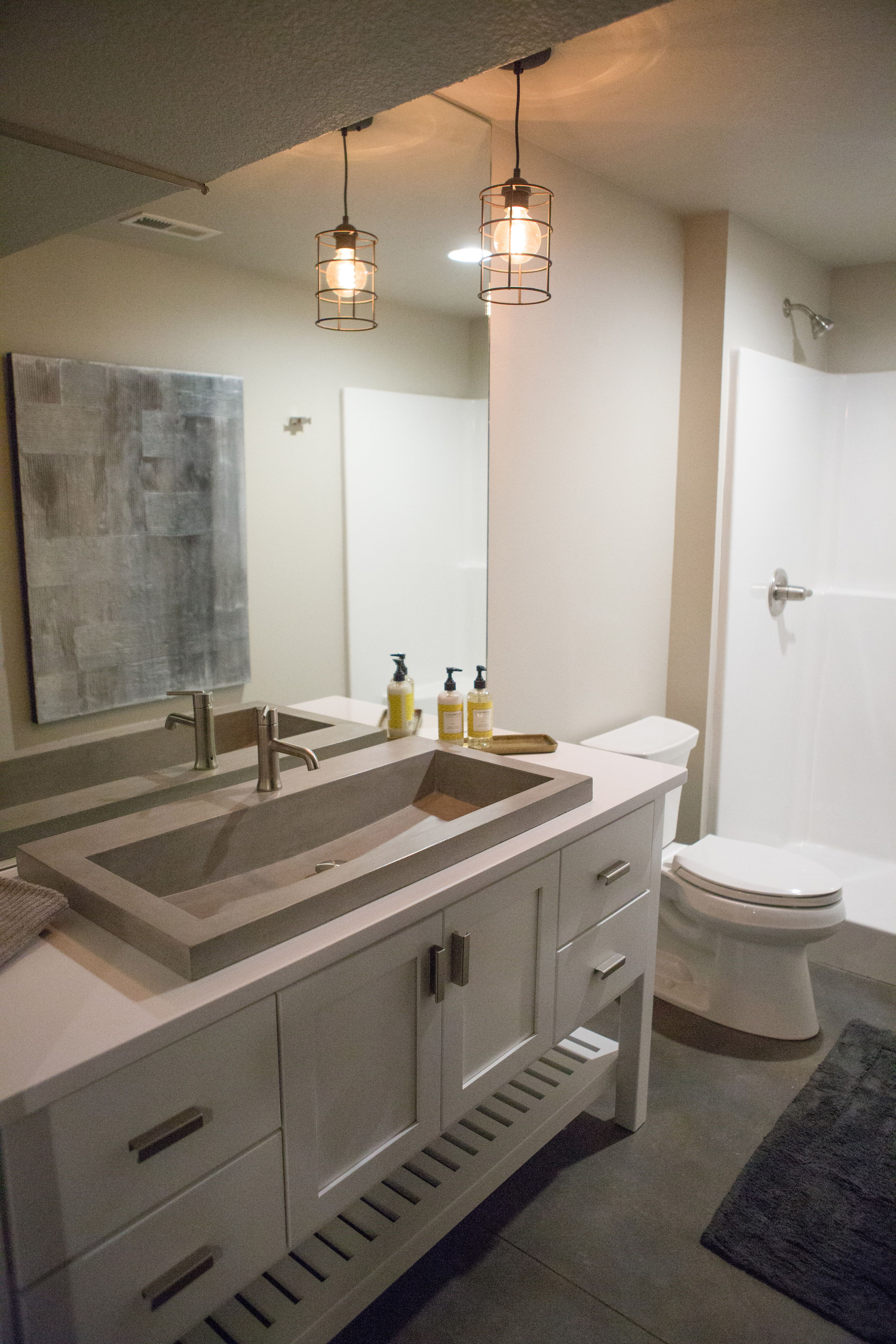 Awesome Basement Bathroom With Concrete Sink   Our Latest Custom Home (4/3/17