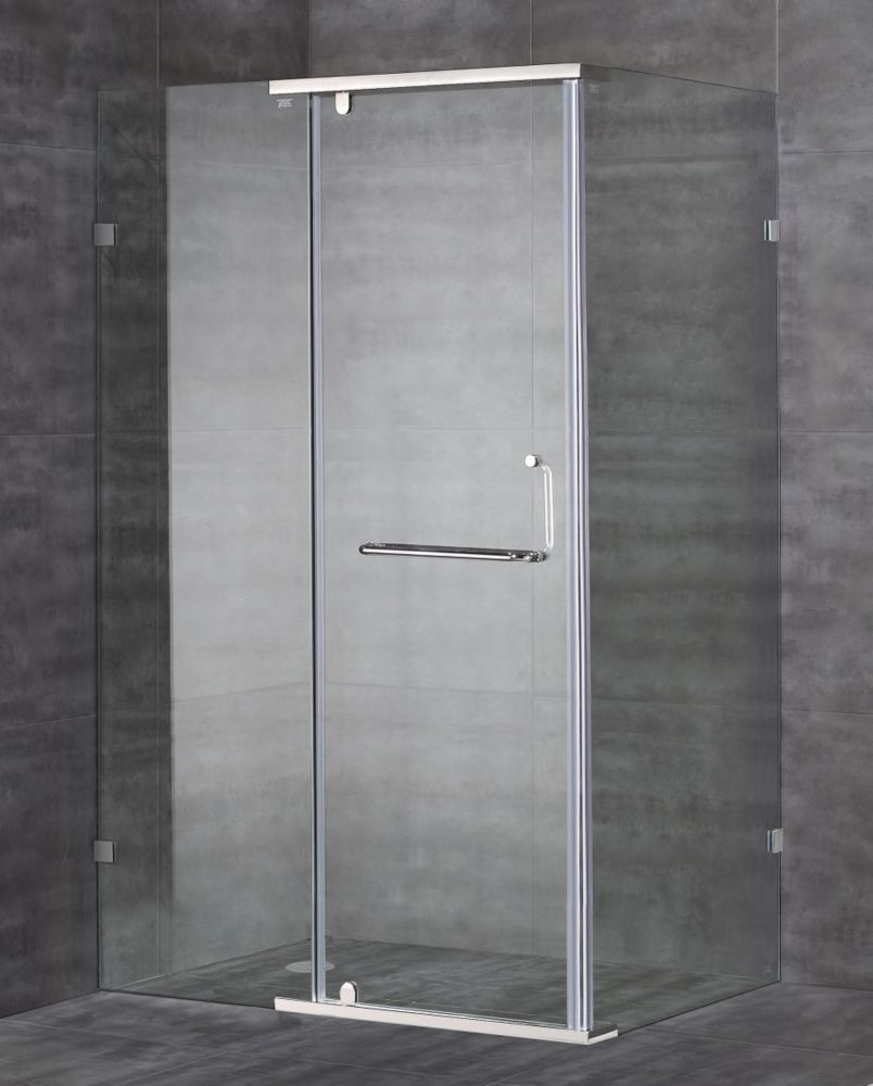 48-Inch x 35-Inch x 75-Inch Semi-Frameless Shower Stall in Chrome ...