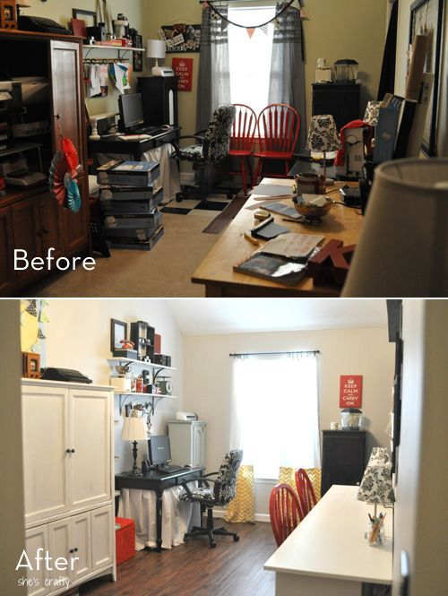 Roundup 10 Amazing Craft Room Makeovers I Totally Have To Do A Before And After Pix For Our Craft Room Room Makeover Home Craft Room Dream Craft Room Sewingcraft room before and during