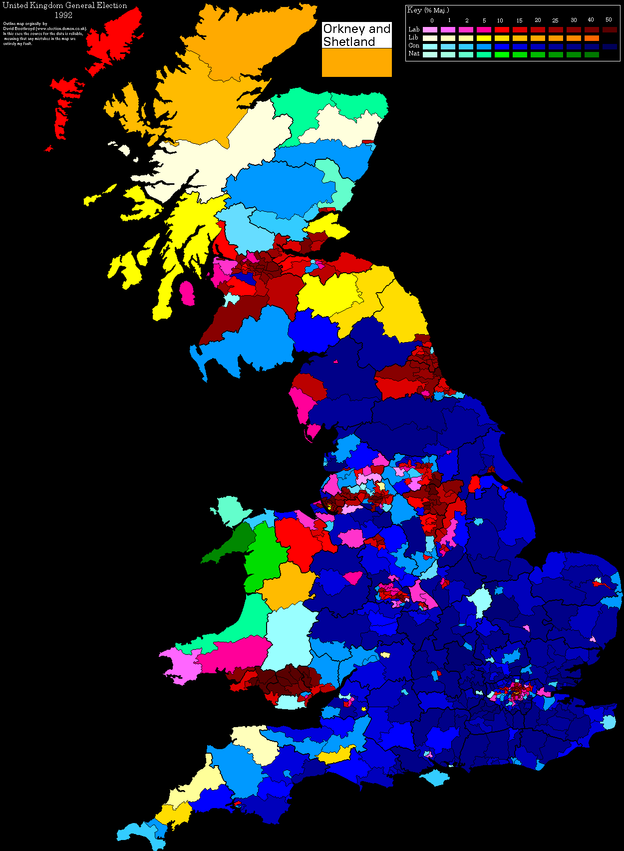 uk election maps 1992 election by party and depth of vote source httpuselectionatlasorgforumindexphptopic3376725
