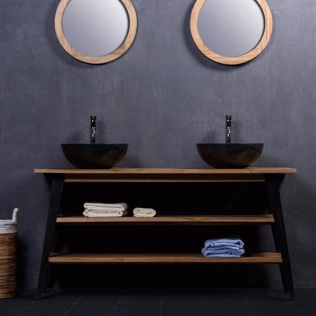 Meuble de Salle de bain en bois de Teck 150 cm - 2 étagères
