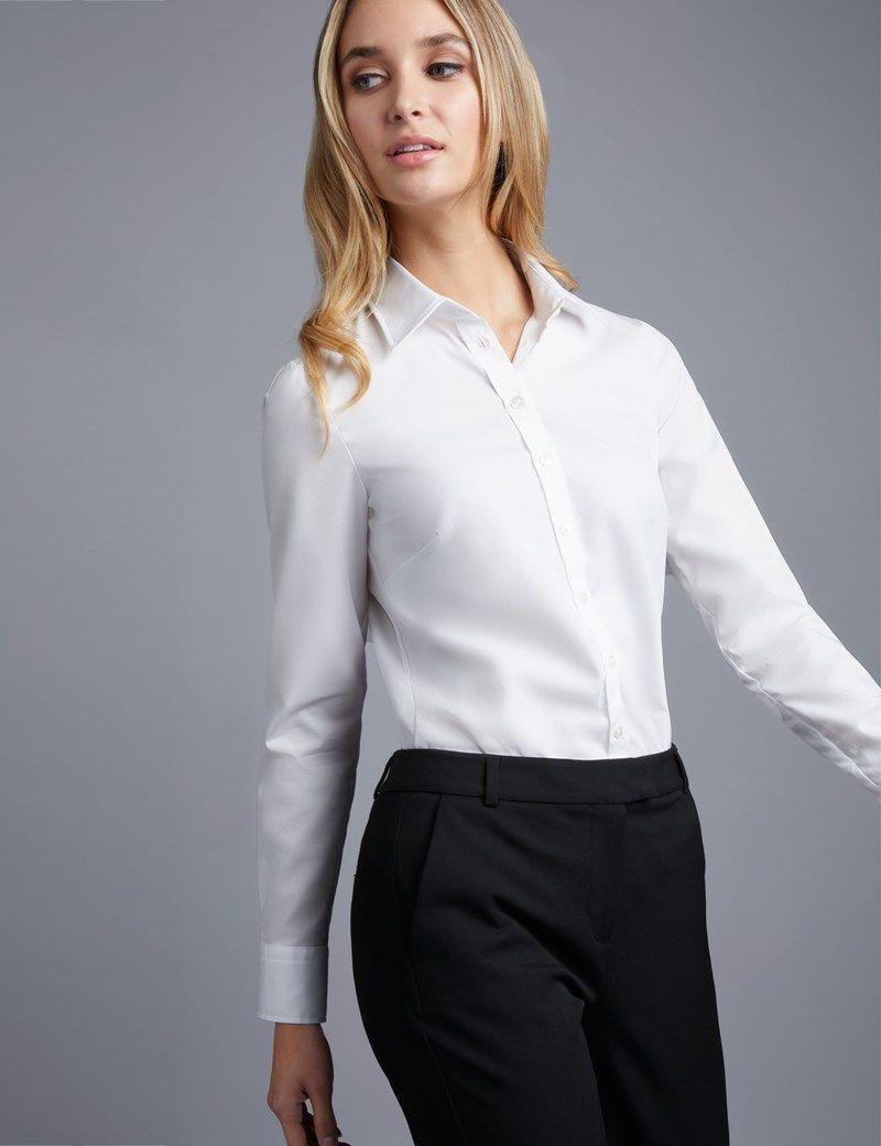 a779fd10 Women's White Semi-Fitted Cotton Poplin Shirt - Single Cuff ...