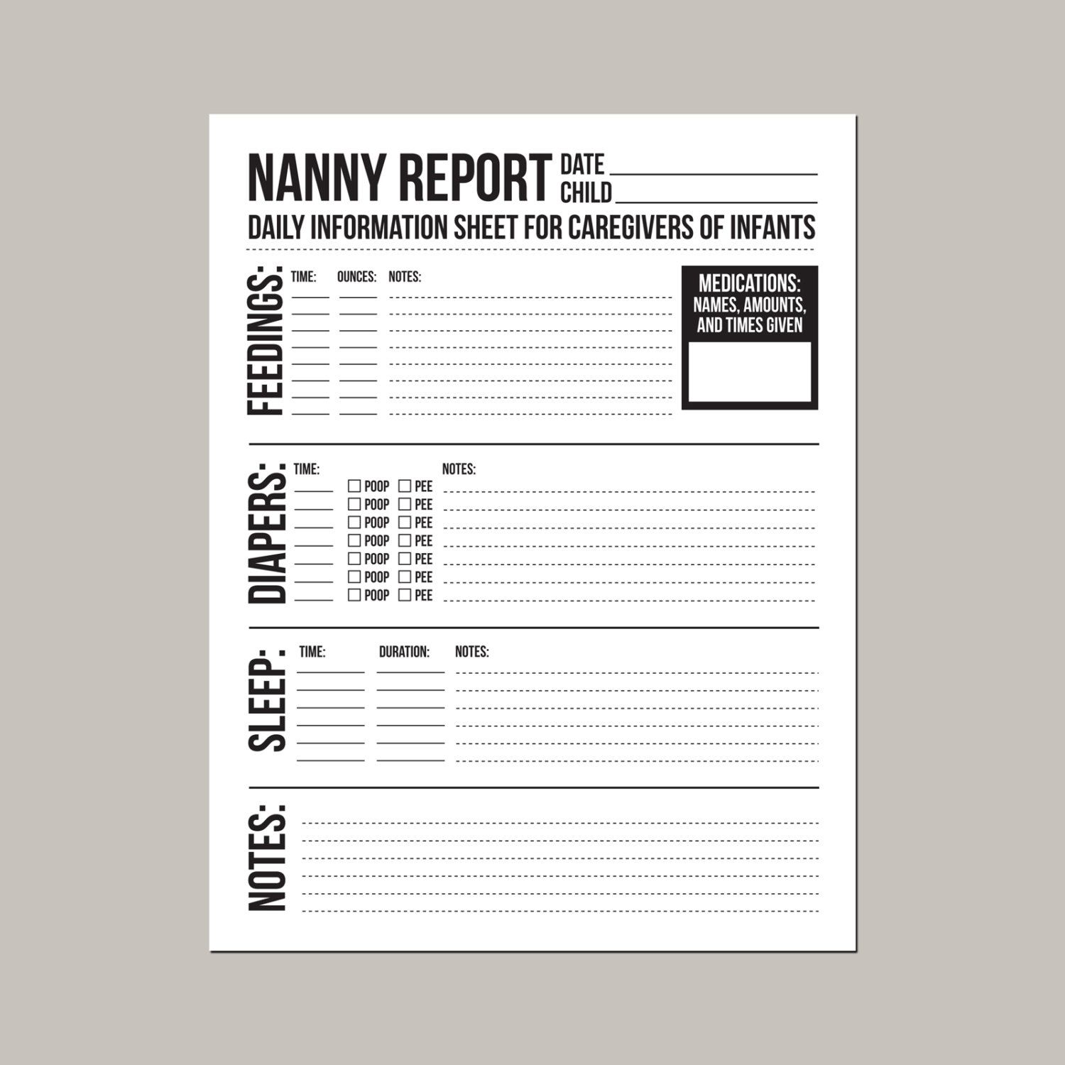 Nanny Report Daily Information Sheet For Caregivers Of Infants