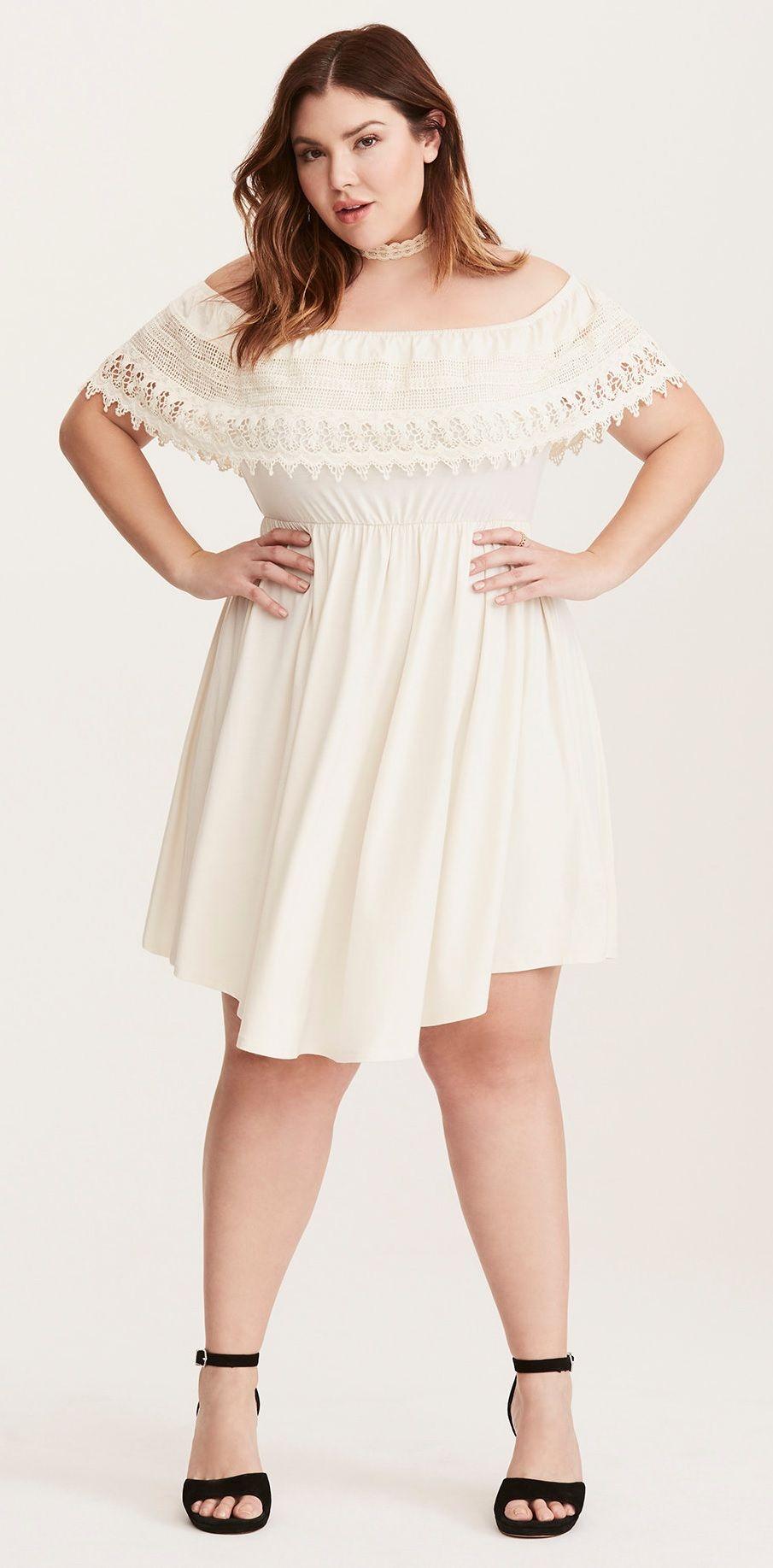 Plus Size Lace Trim Off Shoulder V Hem Dress Torrid Dresses Dresses White Dress