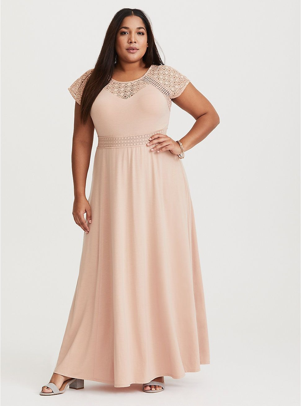 74867d2c12 Blush Crochet Yoke Maxi Dress in 2019 | Dresses | Dresses, Plus size ...