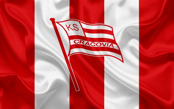 Lataa kuva Cracovia FC, 4k, Puolan football club, logo, tunnus, Ekstraklasa, Puolan jalkapallon mestaruuden, silkki lippu, Krakova, Puola