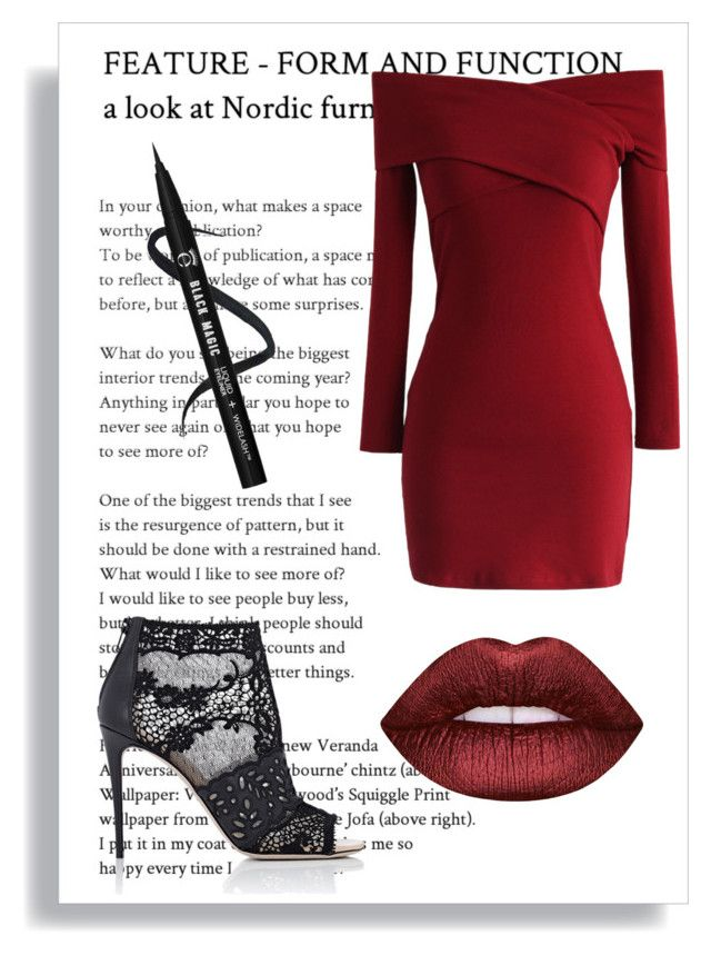 """""""News girl"""" by fashionplez ❤ liked on Polyvore featuring Valentino, Chicwish and Lime Crime"""