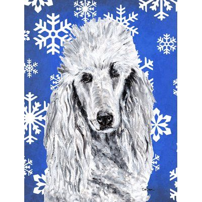 East Urban Home Winter Snowflakes Holiday House Vertical Flag Dog Breed Poodle Gray Standard Poodle Poodle Carolines Treasures