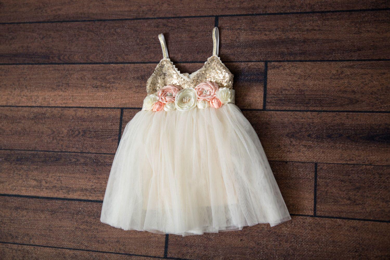 9be2e4848 Ivory Tulle Flower Girl Dress, Gold sequin dress, Cream Tulle, Gold Ivory  Cream