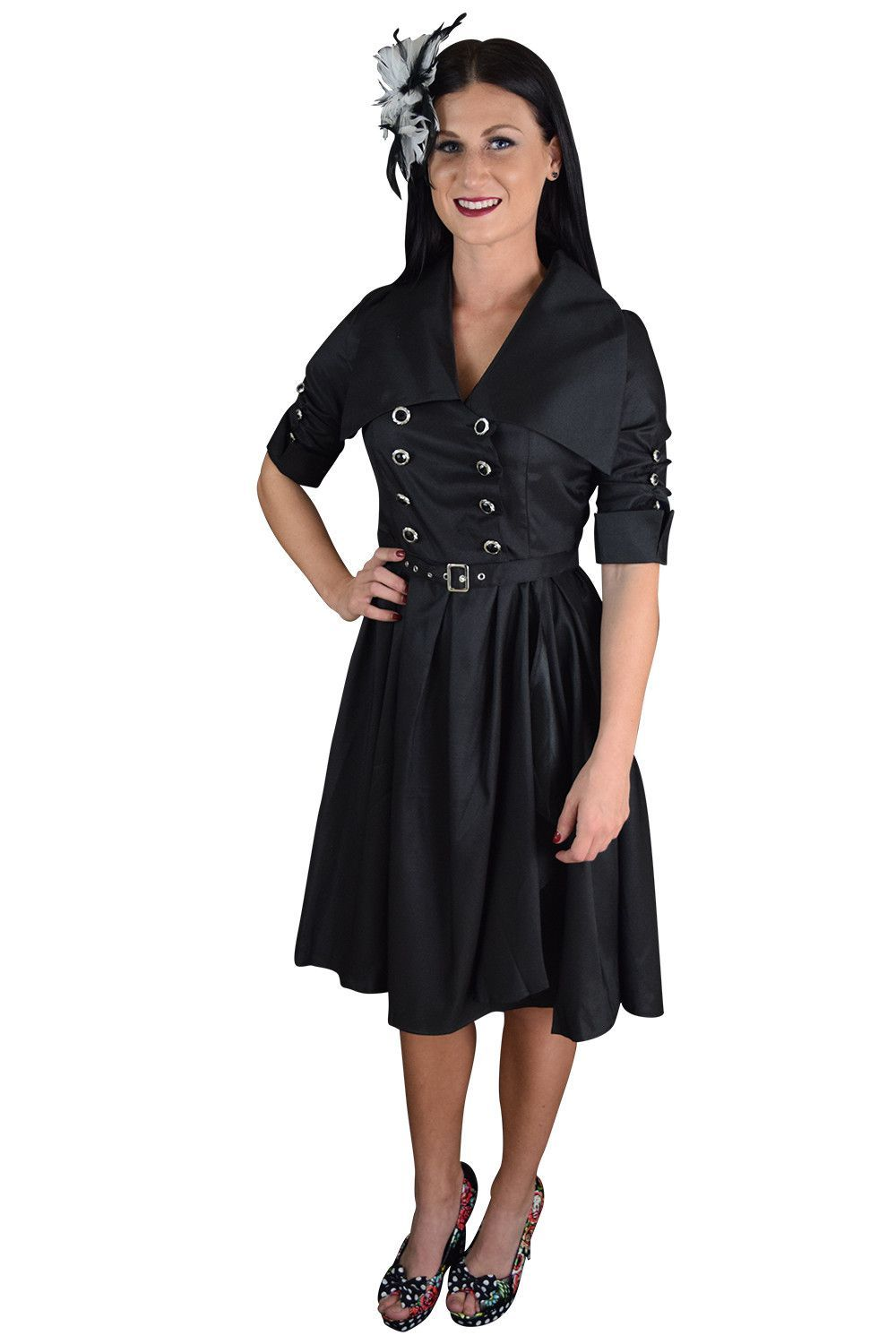 c7e785ebcdbb 60's Vintage Style Rockabilly Gothic Steampunk Black Belted Military Swing  Dress