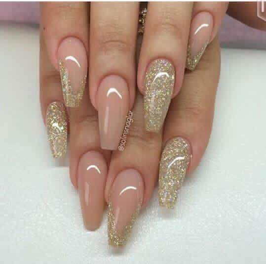 Natural largo dorado | NAILS | Pinterest | Nail polish art, Acrylic ...