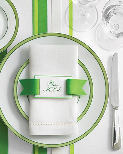 Green Ribbon Tablescape Personalized Napkins Place Card