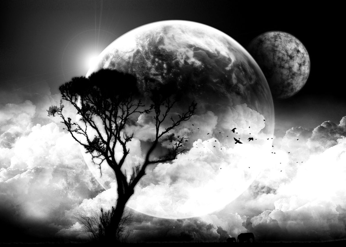 Art Black And White Clouds Moon Tree Inspiring Picture Cool Backgrounds Cool Desktop Black And White Clouds