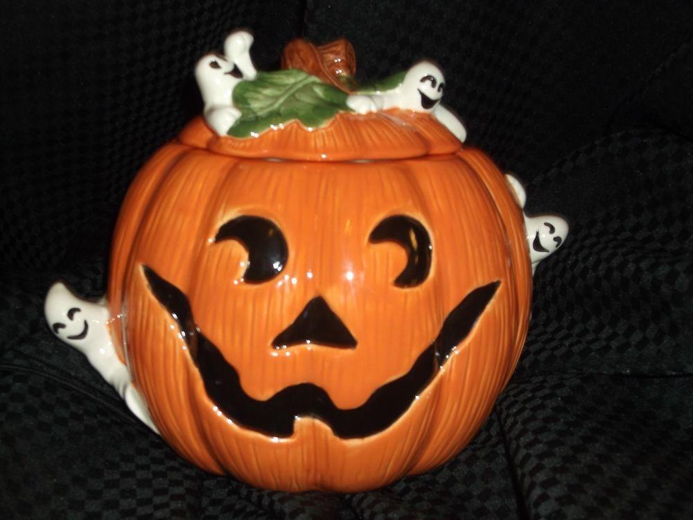 Cookie Jar, Halloween, Jack o Lantern Pumpkin Ghosts by Omnibus Fitz and Floyd