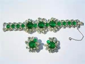 trifari green demi parure