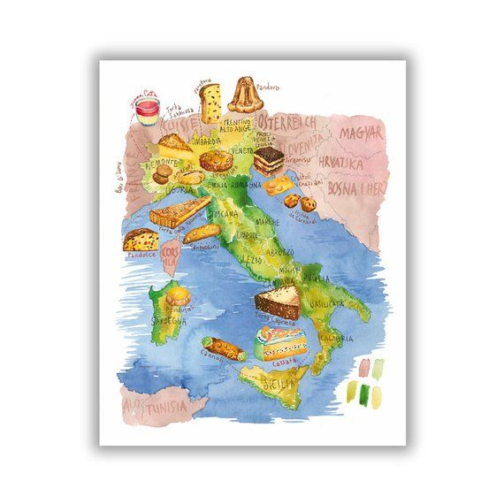 Italian Wall Art Watercolor Desserts On Illustrated Map Of Italy