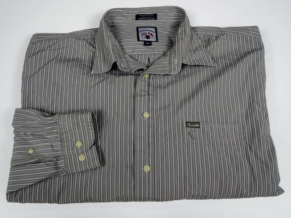Faconnable XXL 2XL Men's Gray White Stripe Button Down Shirt by Albert Goldberg #Faconnable #ButtonFront
