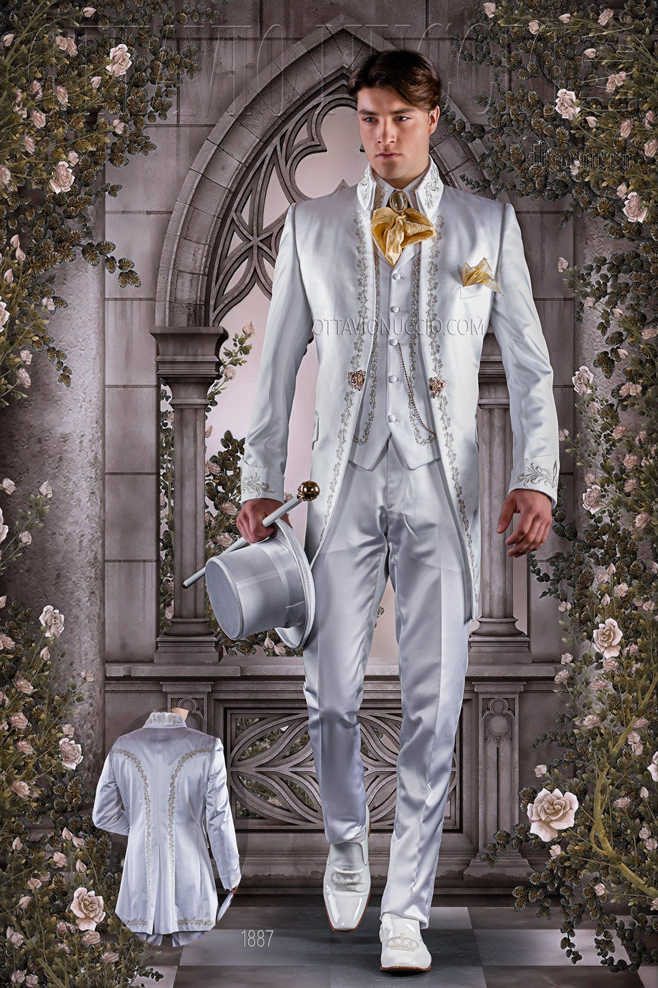Slim Fit White And Gold Baroque Luxury Suit Vintage Wedding Menswear