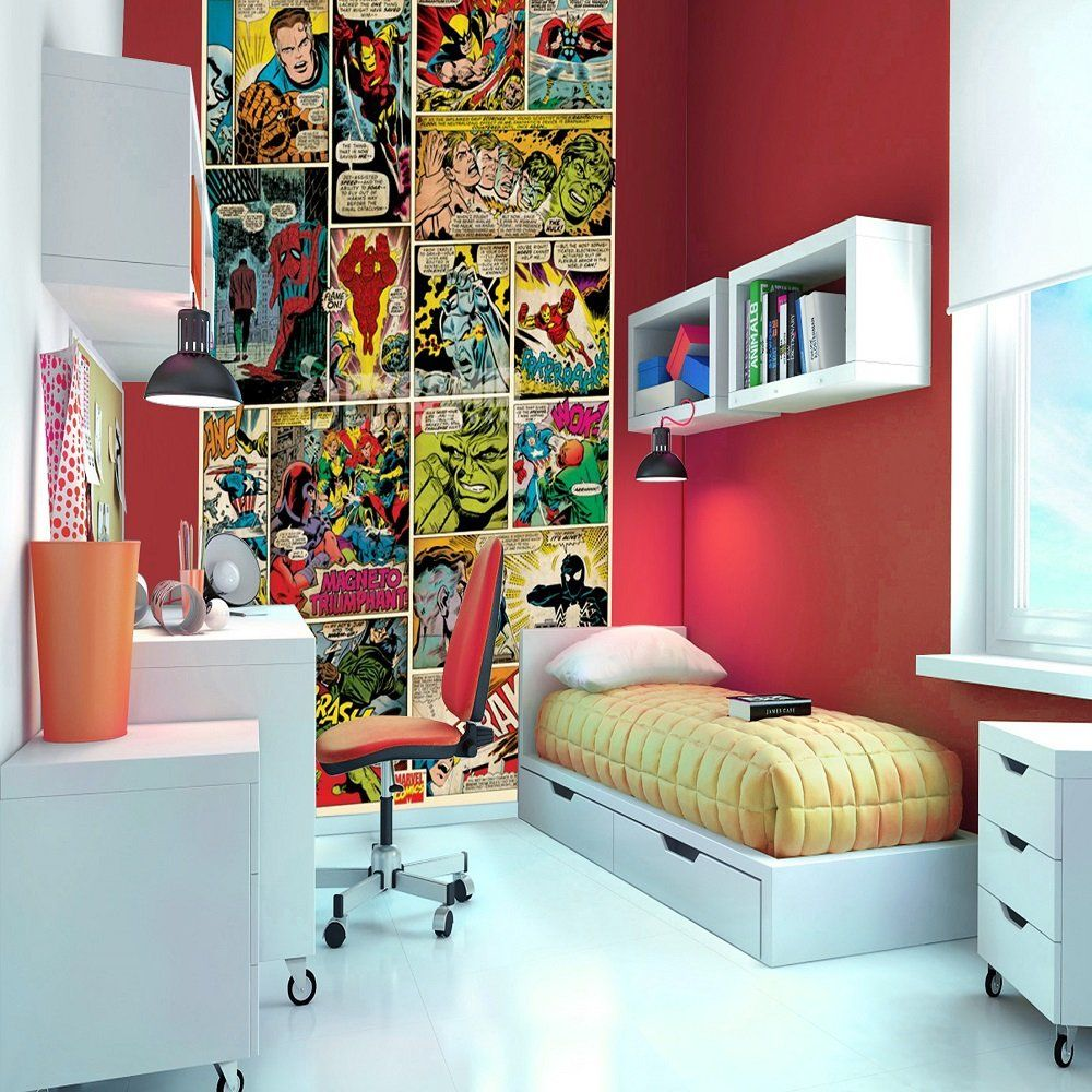 Marvel Comic Bedroom Marvel Comic Heroes Photo Wall Mural 368 X 254 Cm Photo Walls