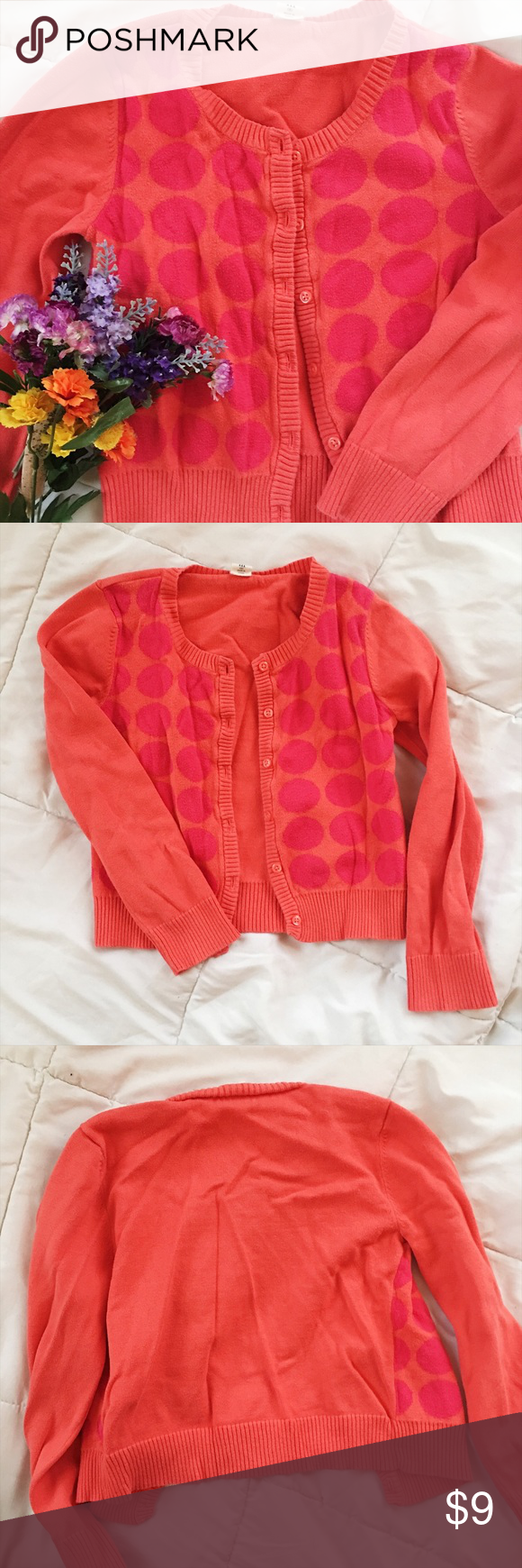 Polka Dot Orange/Pink Button Down Sweater | Kid, Navy shirts and ...