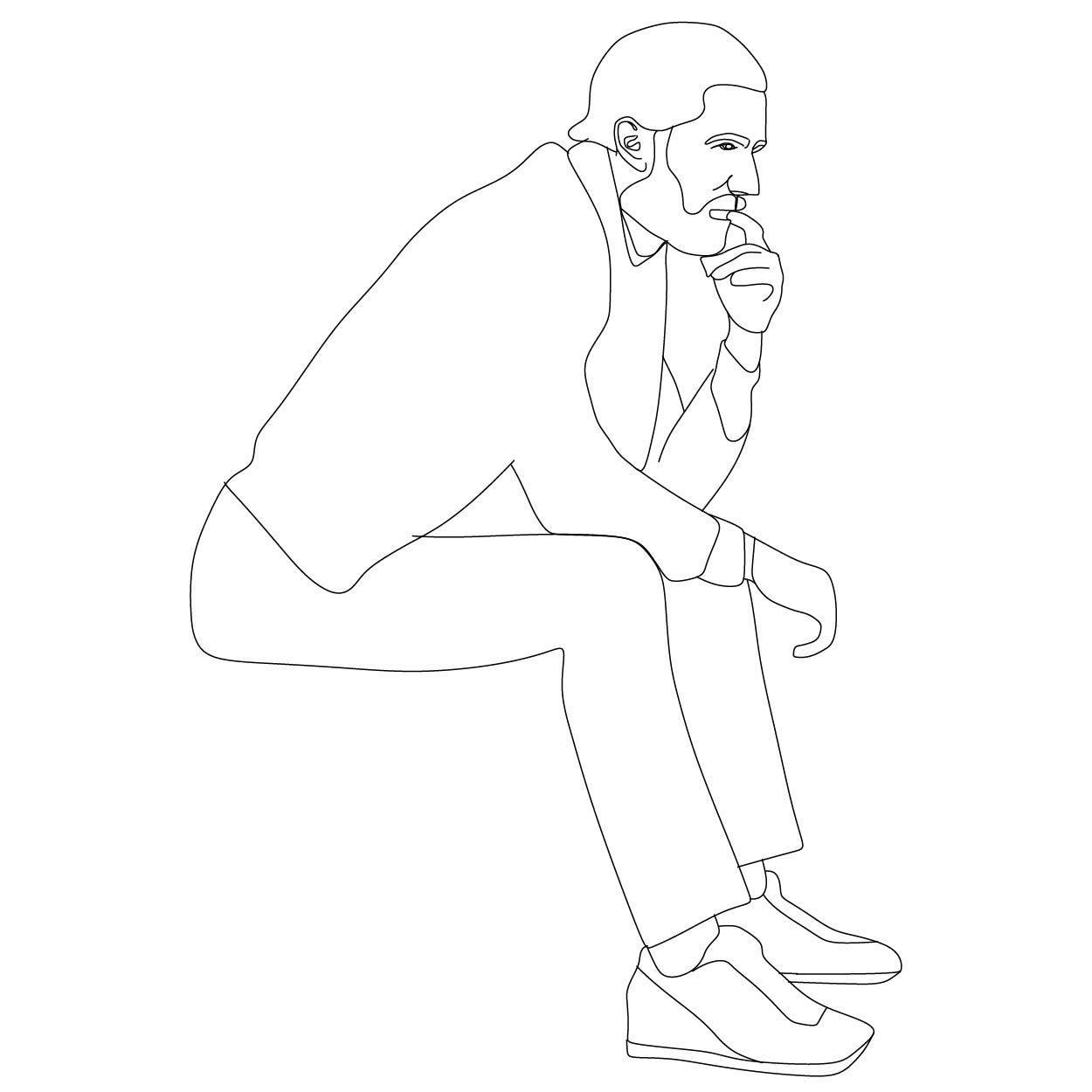 Man Sitting Drawing People Silhouette People People Sitting Png