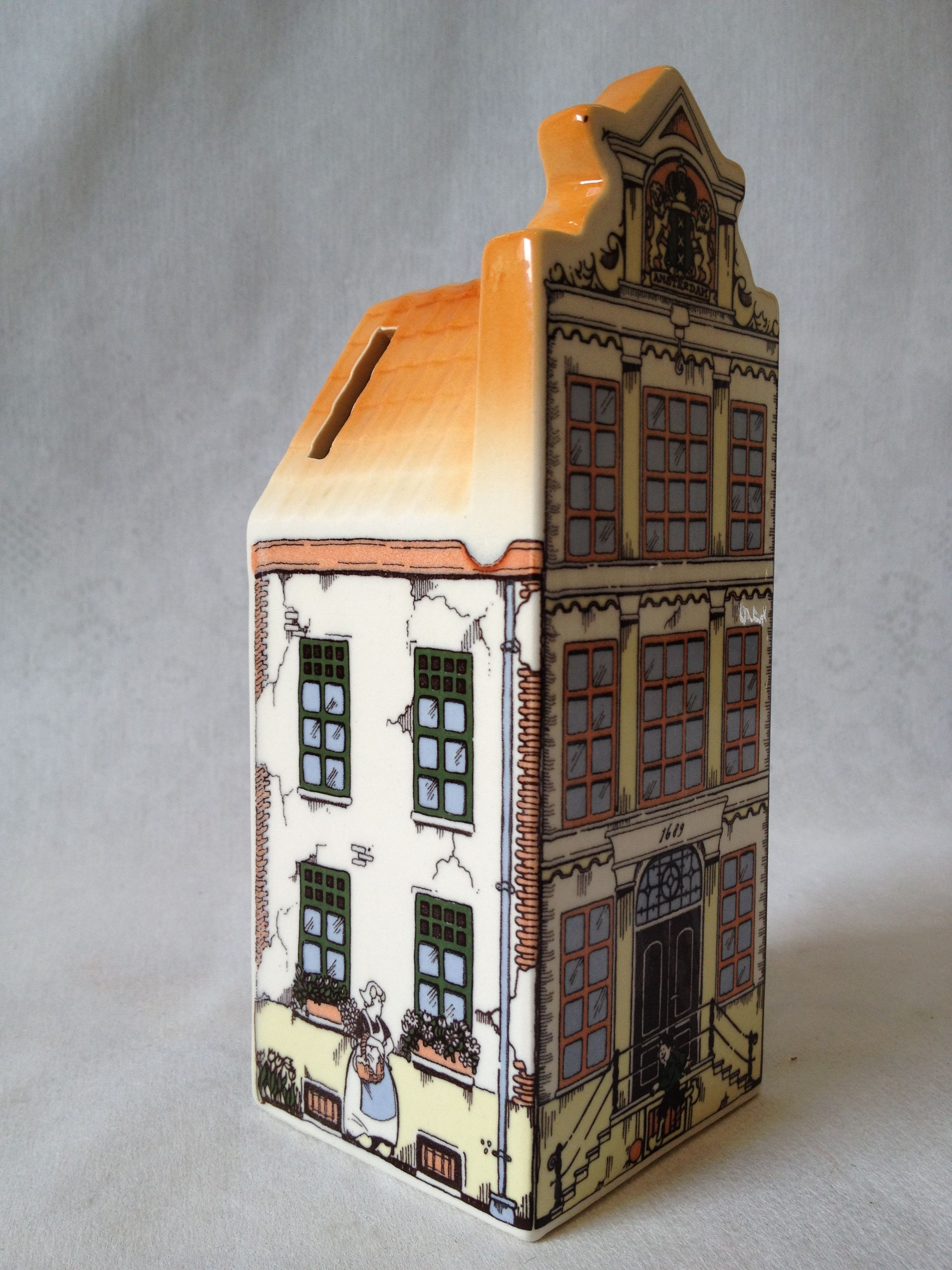 Hand Painted Delft Blue Ceramic Canal House Bank