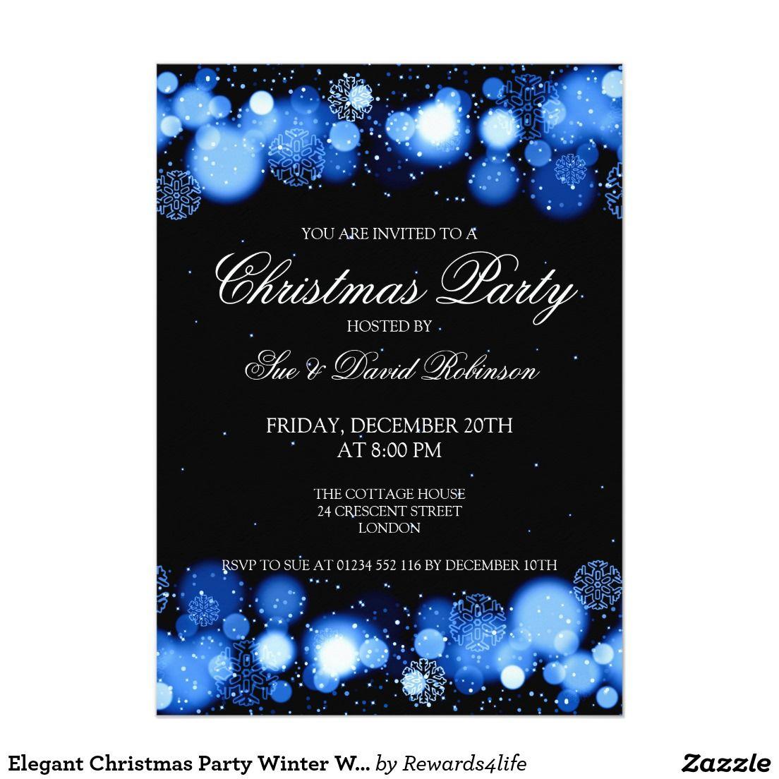 Elegant Christmas Party Winter Wonder Blue 5x7 Paper Invitation Card ...