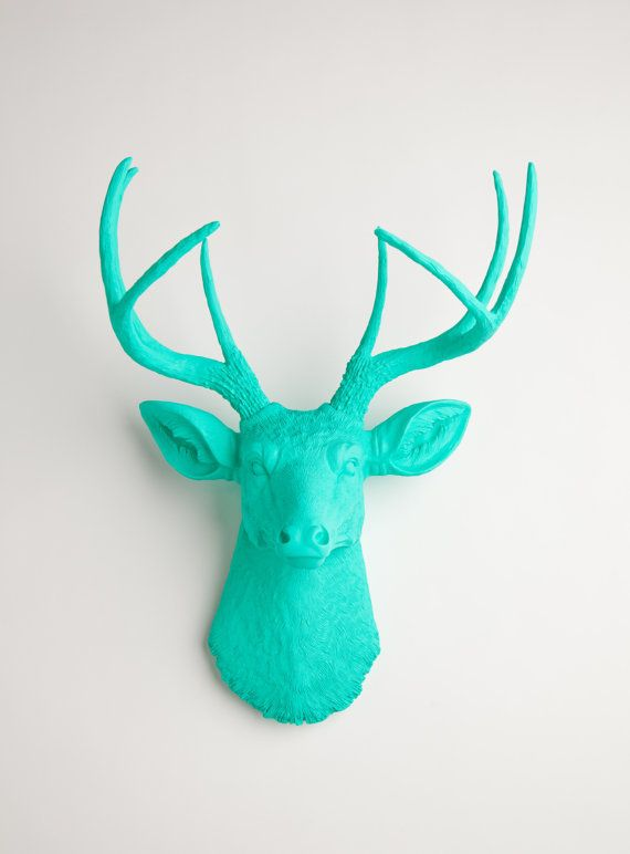 The Penelope - Turquoise Resin Deer Head- Stag Resin Turquoise Faux Taxidermy- Chic Hang Necklaces From.