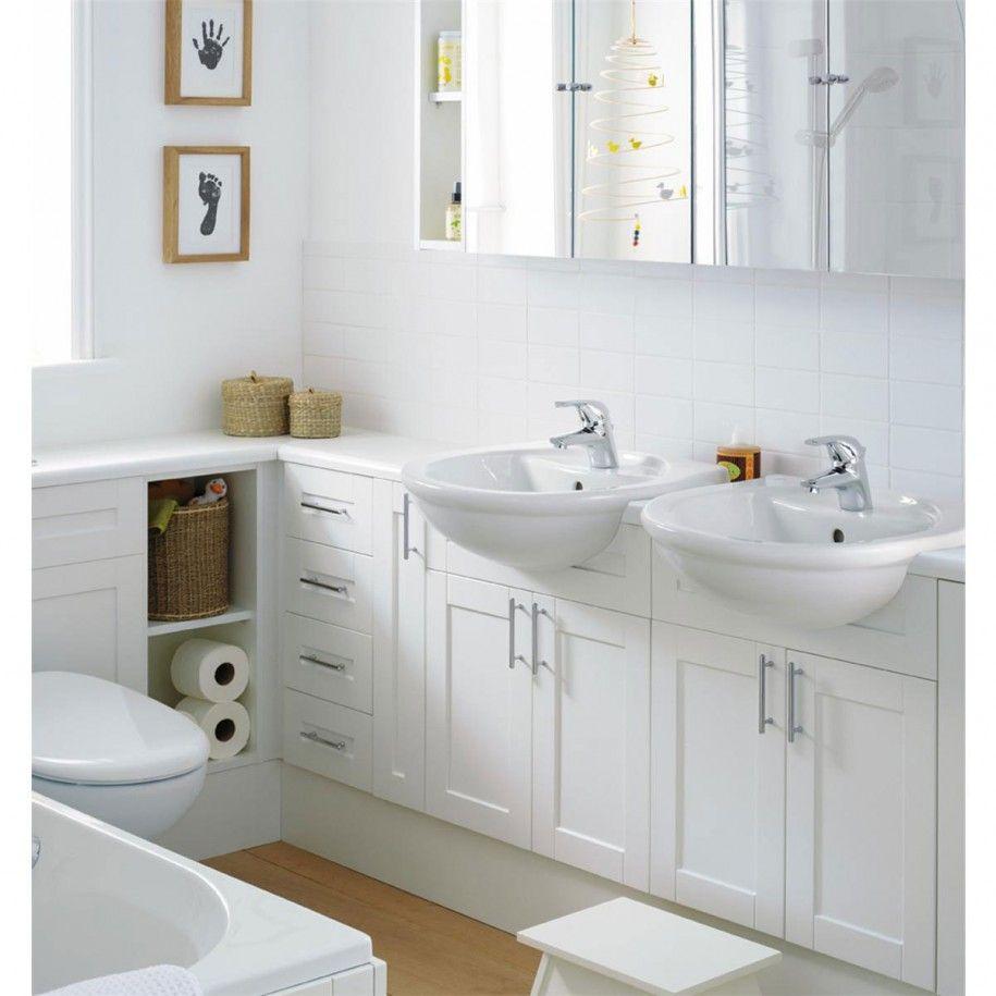 25 White Bathroom Cabinets Ideas | Small bathroom designs, Small ...
