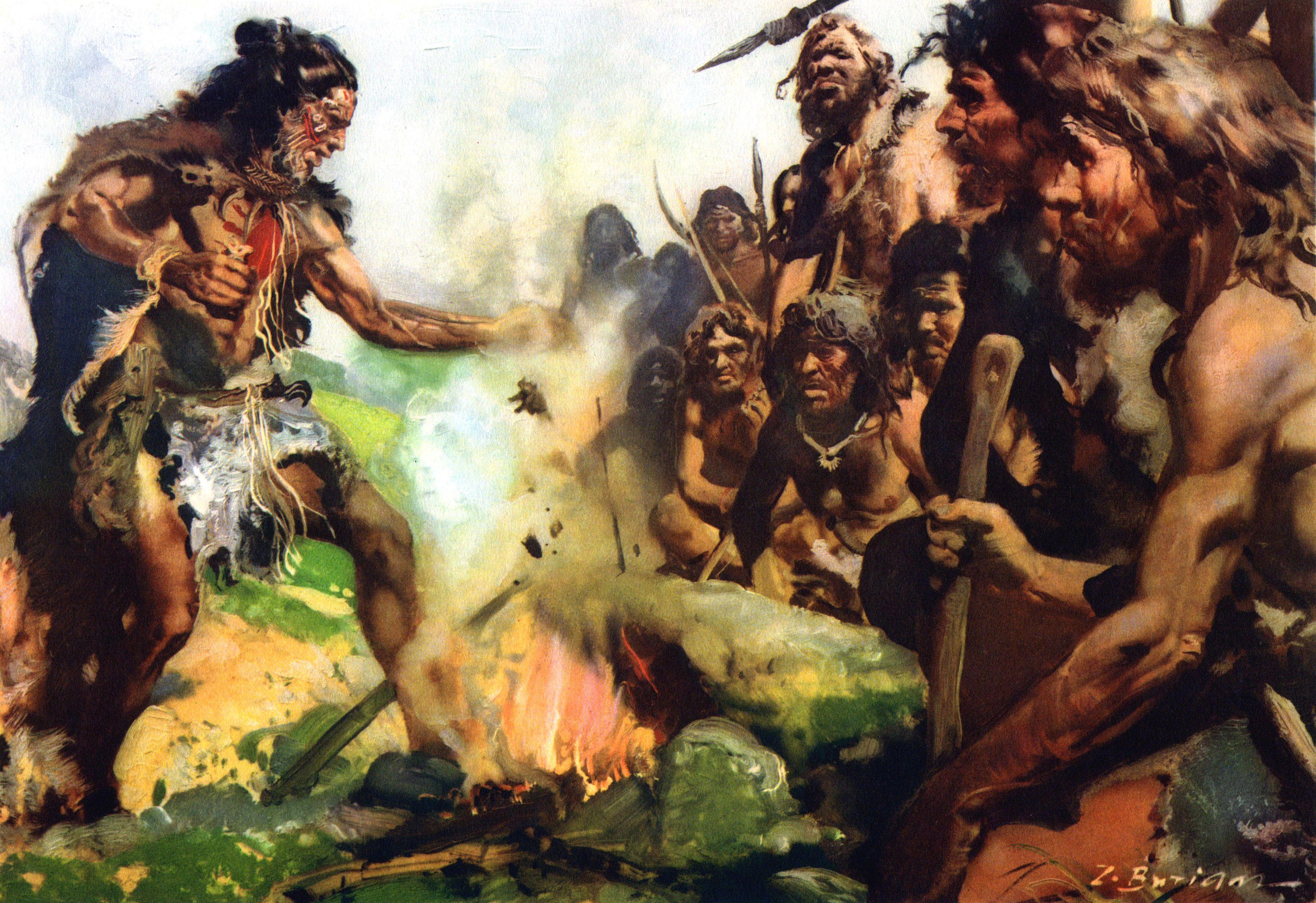 Magic Rites Upper Paleolithic Zdenek Burian Jpg 3618 2484 Prahistorisches Fruhgeschichte Steinzeit