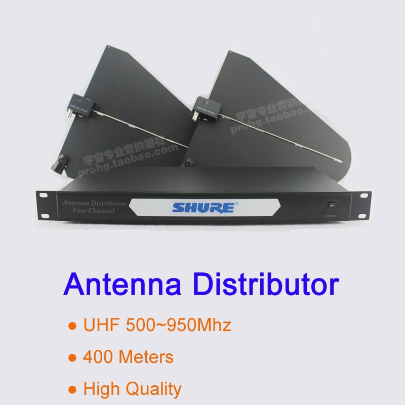 360.00$  Buy now - http://alise3.worldwells.pw/go.php?t=32672902206 - 400 meters Frequency 550-950MHz Four Channel Antenna Distributors UA845,UA870,UA844 Splitter for Wireless Microphone System