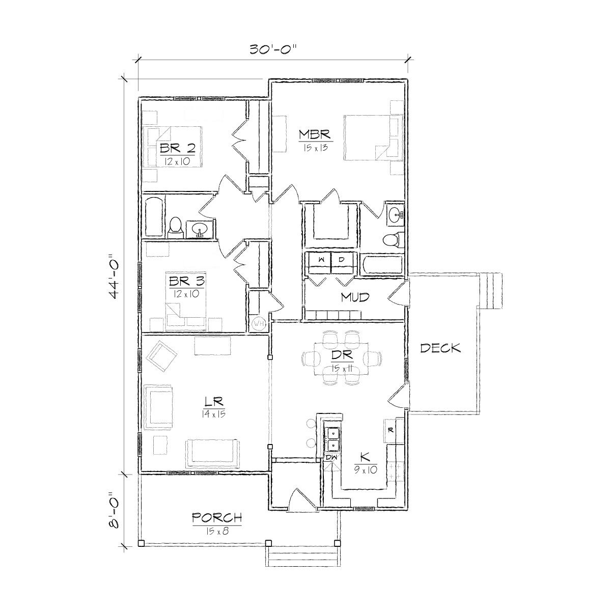 One Story Bungalow Floor Plans