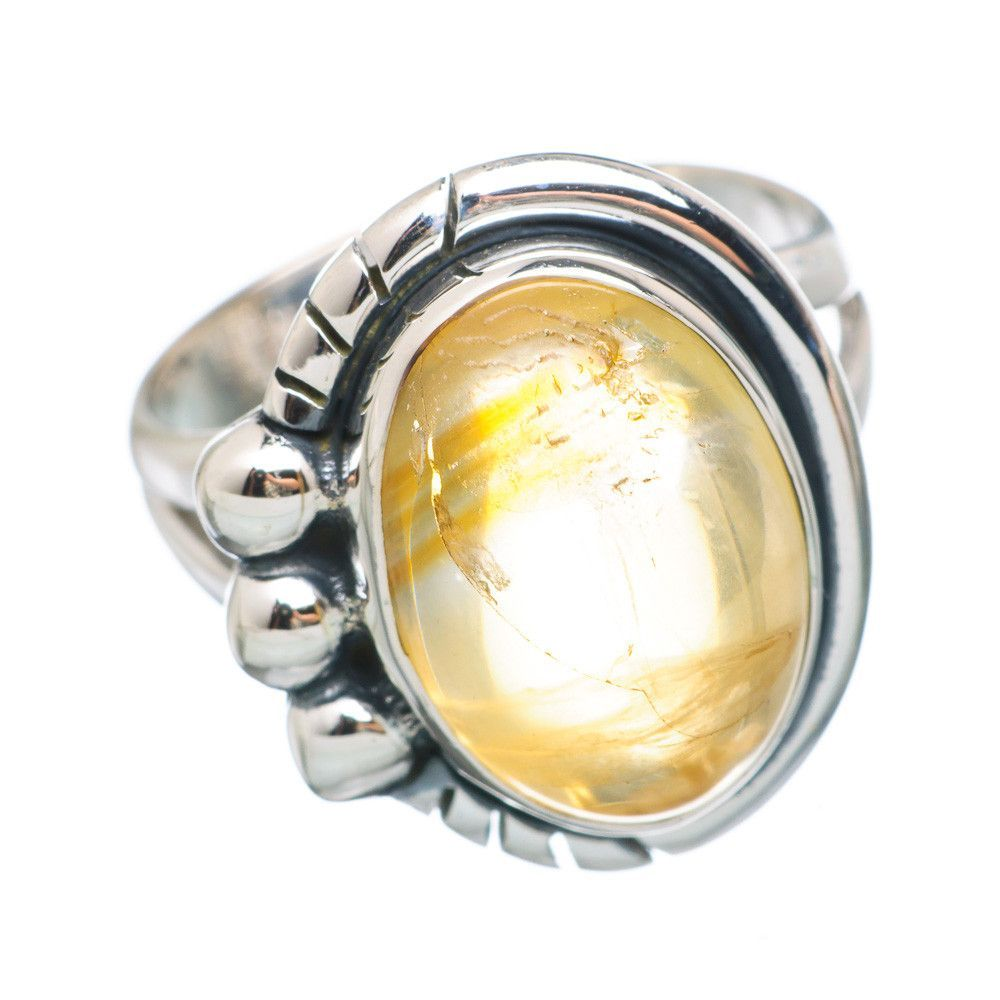 Natural Citrine 925 Sterling Silver Ring Size 6.75 RING749915