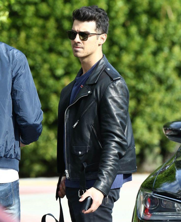 Mens biker style faux leather jacket